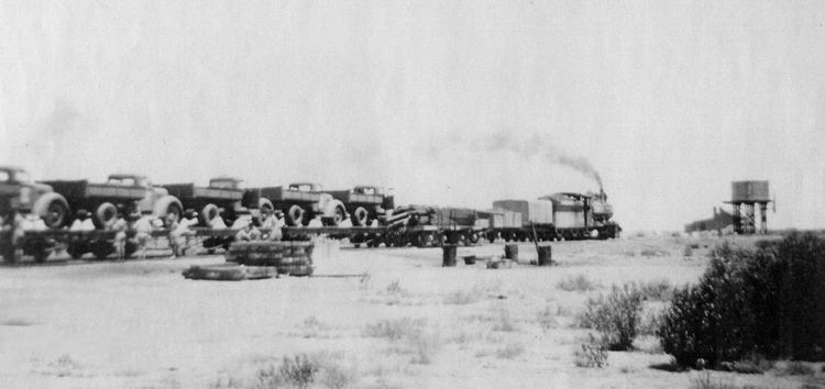 NM34 hauling a troop train on the Central Australia Railway