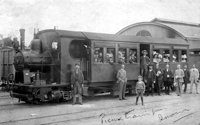 Steam Motor Coach No. 1 on a trial run at Quorn, 1906. Photograph courtesy of the State Library of South Australia. SLSA: B 45335.